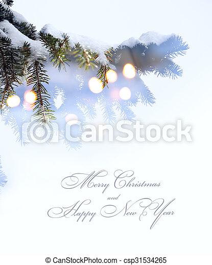Art Christmas Tree Lights White Snow Background Christmas Tree