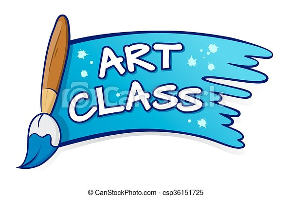 art class sign with paint brush splatter vector stock of vector rh canstockphoto com ink splatter clipart paint splatter clipart