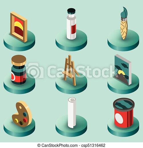 Art color isometric icons set - csp51316462