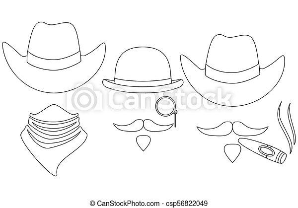 art, cow-boy, avatars, 3, noir, occidental, ligne, blanc - csp56822049