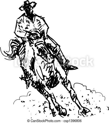 art, cow-boy, rodéo, occidental, ligne, cavalier - csp1396806