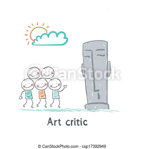 Art critic looks at the sculpture - csp17392949
