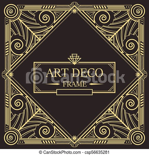 Art Deco Border Frame Vector 08