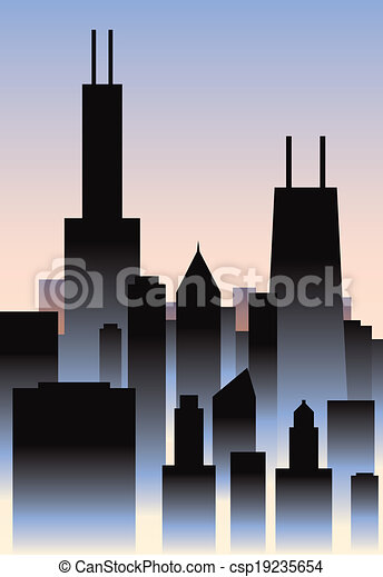 art deco chicago art deco style skyline of the city of clipart rh canstockphoto com Chicago City Jazzy Chicago