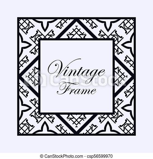 Art deco frame border. Vintage ornamental decorative label frame ...