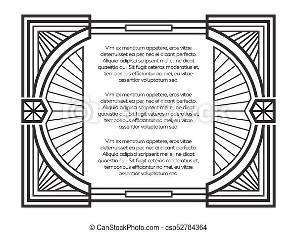 art deco frame template isolated on white background vector