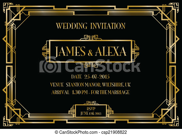 art deco invitation - csp21908822