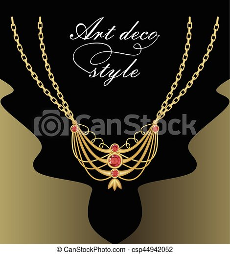 Art deco necklace with golden pendant on double chain, red cut gemstone decorated jewel, retro victorian style - csp44942052