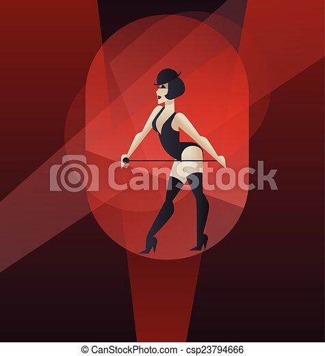 Art Deco poster design cabaret burlesque dancer - csp23794666