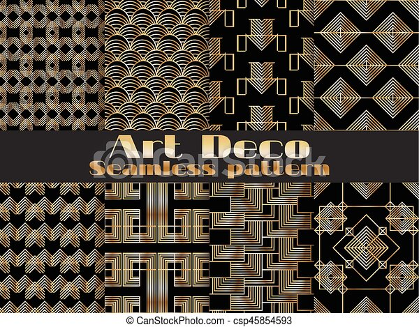 art deco seamless pattern set retro backgrounds gold and black