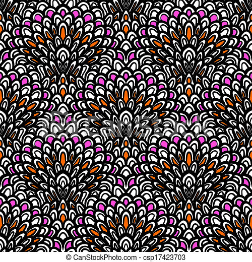 Art deco seamless vector floral pattern - csp17423703