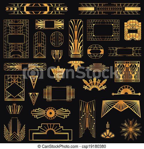 Art Deco Vintage Frames and Design Elements - in vector - csp19180380