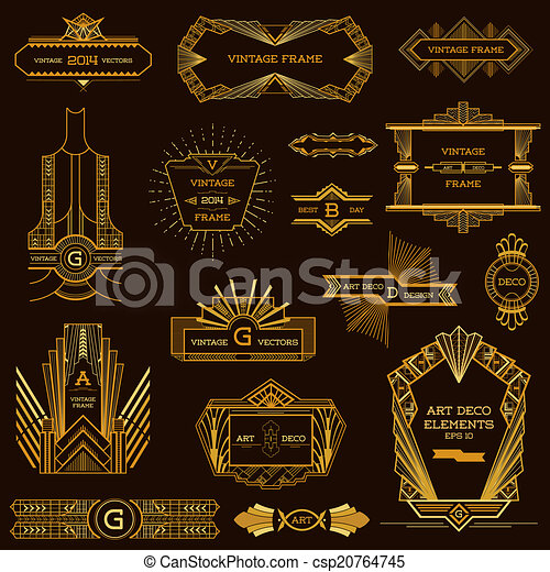 Art Deco Vintage Frames and Design Elements - in vector - csp20764745