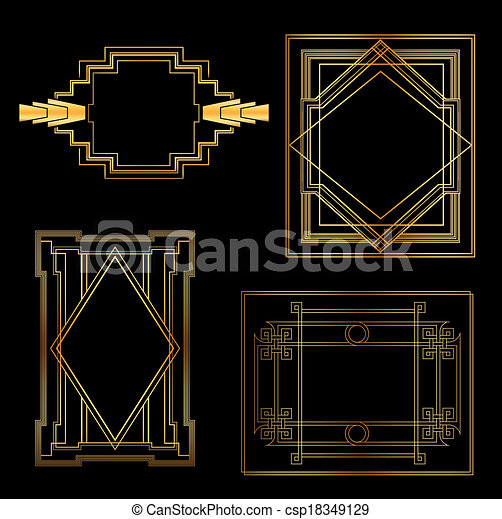 Art Deco Vintage Frames And Design Elements With Place For Your