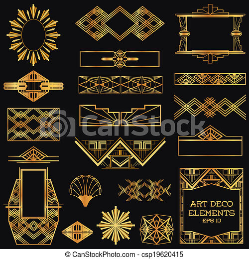 art deco vintage frames and design elements in vector. Black Bedroom Furniture Sets. Home Design Ideas