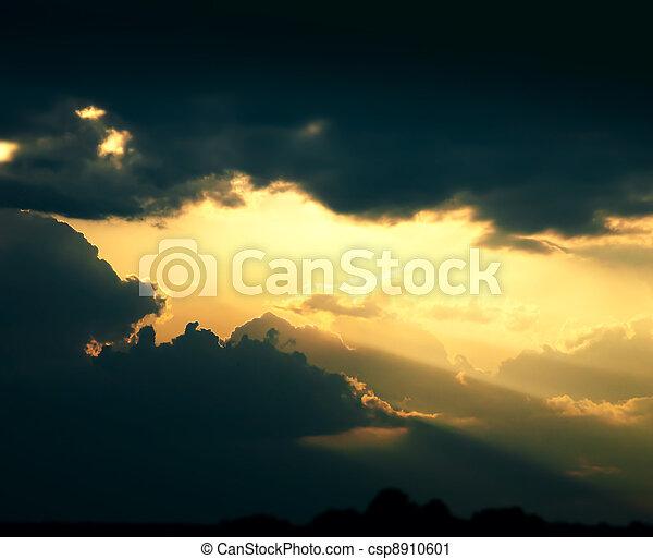 art dramatic dark clouds sky background - csp8910601