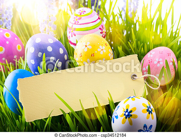 Art Easter Background With Easter Eggs And Spring Flowers Easter