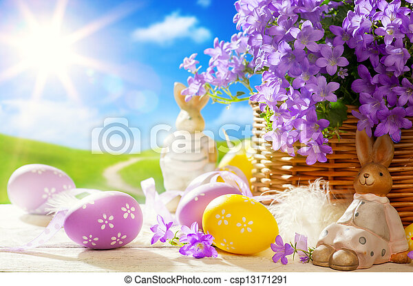 Art Easter bunny and Easter eggs - csp13171291