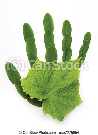 art Ecological symbol  hand of nature - csp7275954
