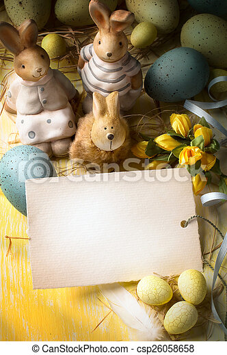 art family Easter bunny and Easter eggs - csp26058658
