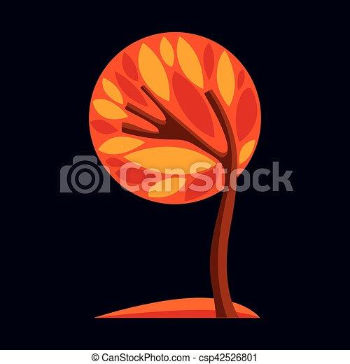 Art fantasy illustration of tree, stylized eco symbol. Graphic design vector image on season idea, beautiful picture. - csp42526801