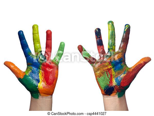 Art farbe, hand, gemalt, handwerk, kind. Voll, gemalt,... Bild ...