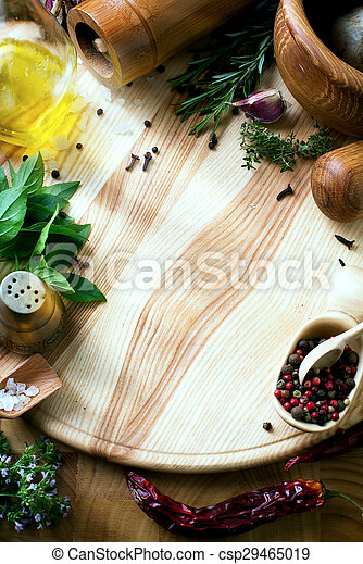 art fresh vegetables and spices on the wooden background - csp29465019