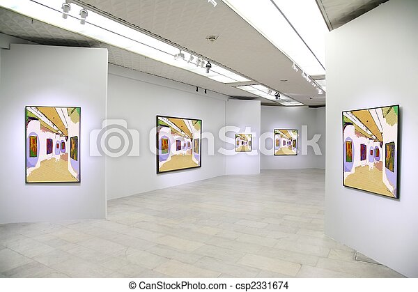 art gallery 3. All pictures on wall just filtered whole this photo - csp2331674