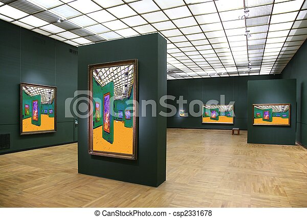 art gallery 6. All pictures on wall just filtered whole this photo - csp2331678