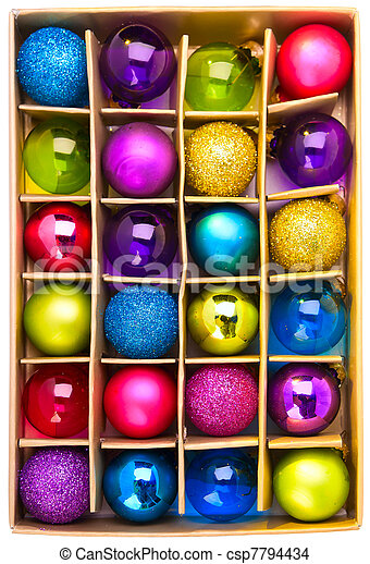 Art gift box with bright colored Christmas balls - csp7794434