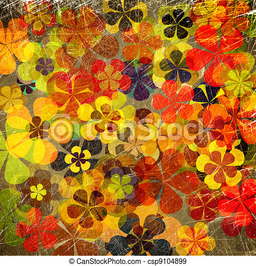 art grunge vintage floral background - csp9104899