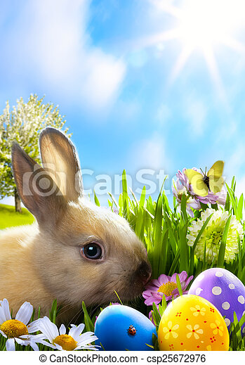 art Little Easter bunny and Easter eggs on green grass - csp25672976
