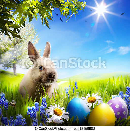 art Little Easter bunny and Easter eggs on green grass - csp13159903