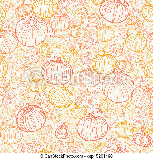 art, modèle, thanksgiving, seamless, fond, pumkins, ligne - csp15201498
