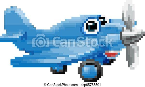 Art Morceau Caractère Dessin Animé Jeu 8 Avion Pixel