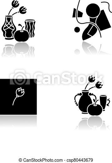 Art movements drop shadow black glyph icons set - csp80443679