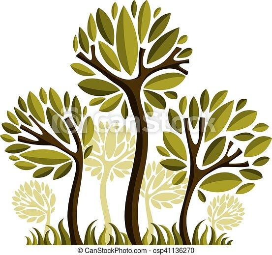 art, nature, image, symbolique, illustration, créatif, idea., arbre, vecteur, forêt, concept., plante - csp41136270