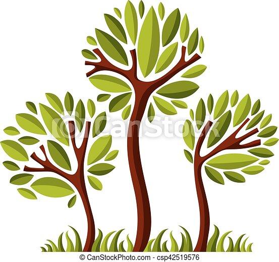 art, nature, image, symbolique, illustration, créatif, idea., arbre, vecteur, forêt, concept., plante - csp42519576