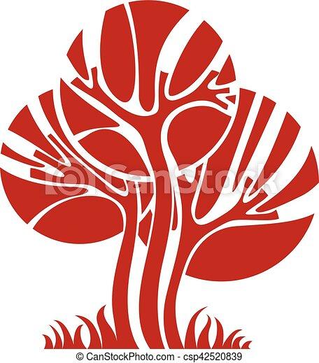 art, nature, image, symbolique, illustration, créatif, idea., arbre, unique, vecteur, forêt, concept., plante - csp42520839