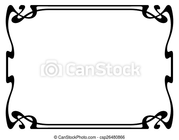 art nouveau black ornamental decorative frame vector art clip rh canstockphoto ca art nouveau clipart black and white art nouveau clipart borders