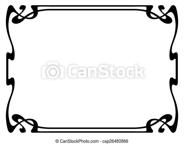 art nouveau black ornamental decorative frame vector art clip rh canstockphoto ca art nouveau clipart borders art nouveau frame clipart