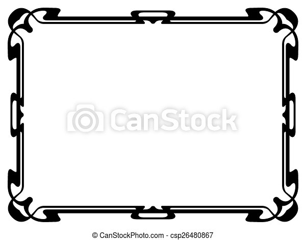 art nouveau black ornamental decorative frame vector art clip rh canstockphoto com art nouveau flower clipart art nouveau clipart