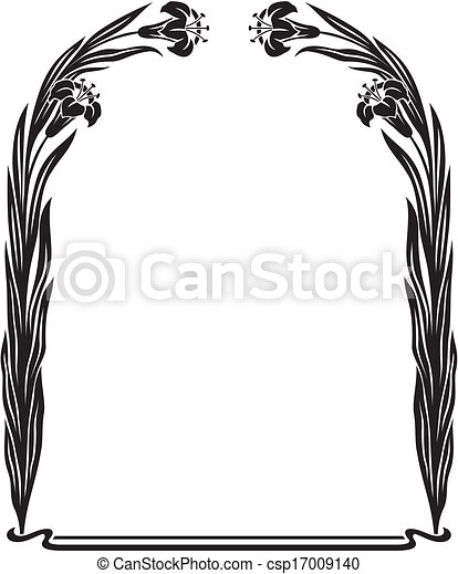 art nouveau iris frame black and white art deco floral eps rh canstockphoto com art deco clipart frame art deco clip art ladies