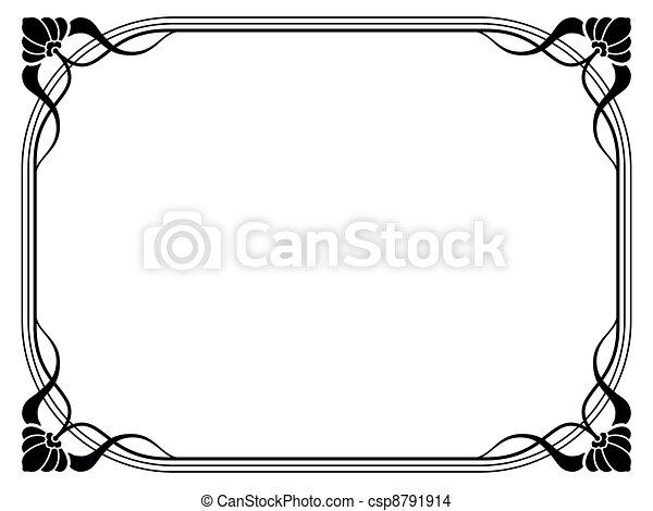 art nouveau ornamental decorative frame - csp8791914
