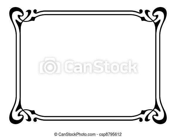 art nouveau ornamental decorative frame - csp8795612