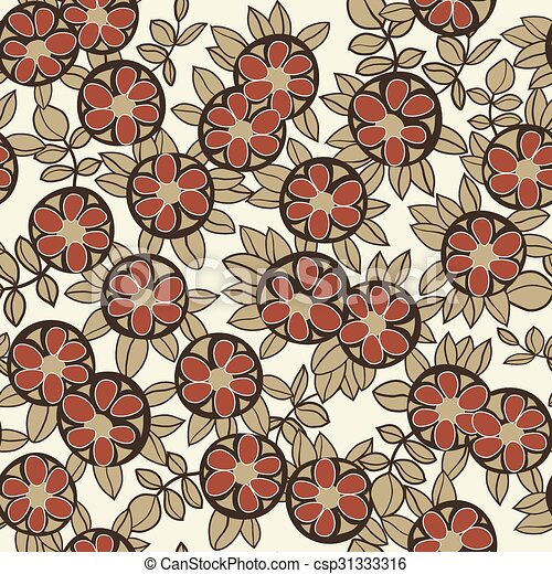 Art Nouveau Pattern With Flowers
