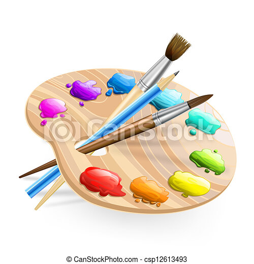 art palette wirh brushes,pencil and paints - csp12613493