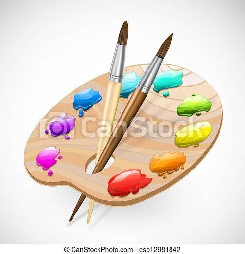 art palette wirh brushes,pencil and paints - csp12981842