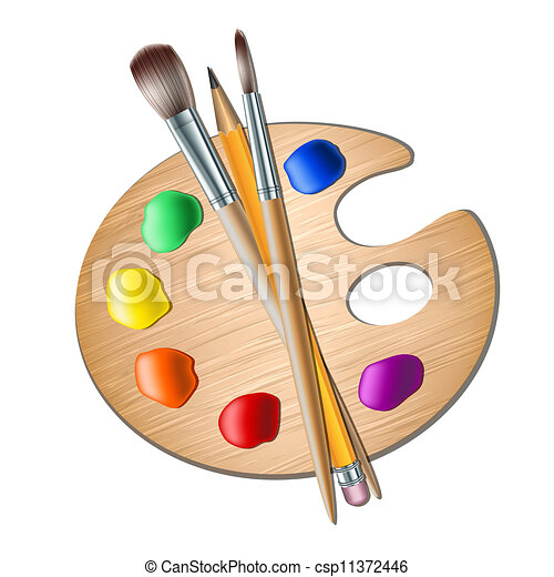 Art palette with paint brush for drawing - csp11372446