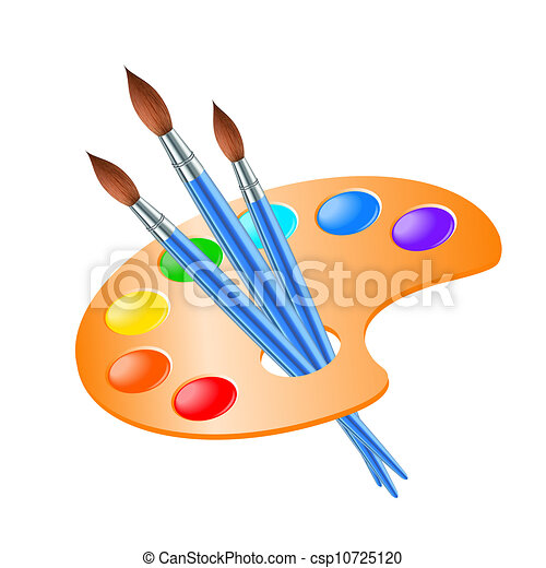Art palette with paint brush for drawing - csp10725120